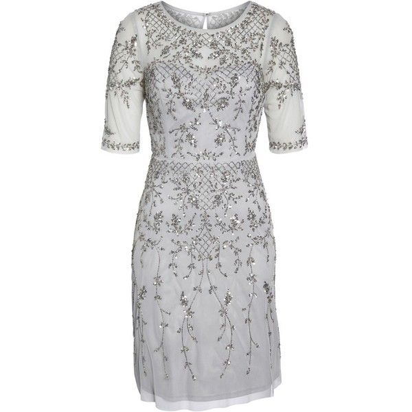 Women's Adrianna Papell Embellished Fit & Flare Dress ($299) ❤ liked on Polyvore featuring dresses, bridal silver, petite, fit and flare cocktail dress, silver cocktail dresses, petite dresses, petite fit and flare dresses and petite cocktail dress
