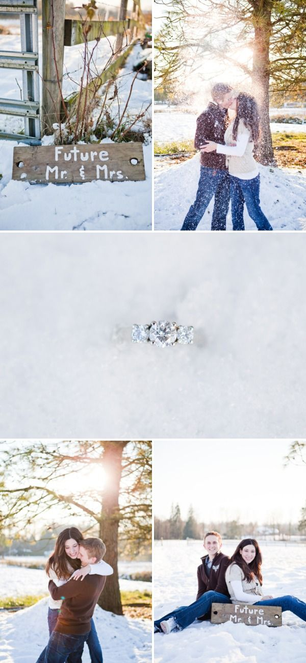 Love the snowy engagement shoot!
