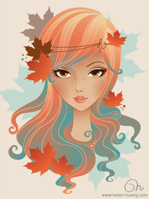 CQcat , Helen Huang, seasons, vector illustration
