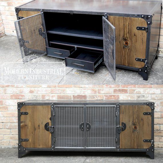 Modern Industrial Media Console | Vintage Living Room Furniture | TV stand Credenza | Mesh Home Theater Cabinet