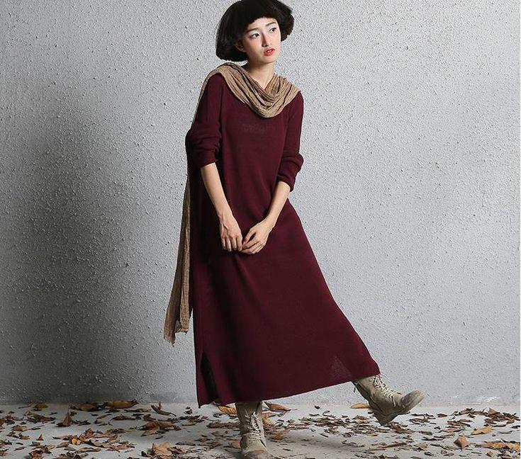 Купить Сплошные цвета Вязаный свитер платье Осень зима длинные вязание платья для женщин плюс размер одежды 960619и другие товары категории Пуловерыв магазине NINI'S CLUBнаAliExpress. платье кафтан и свитер платье моды