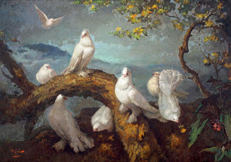 Lee Man Fong - Doves (sold for $ 308,325)
