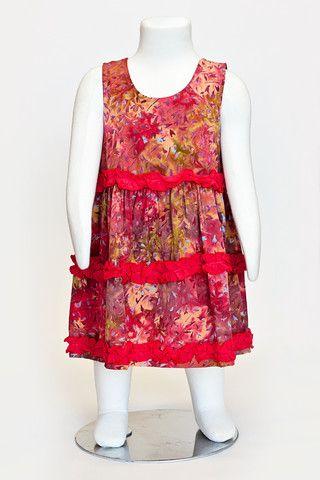 batik dress, summer dress, ruffle dress, girls dress