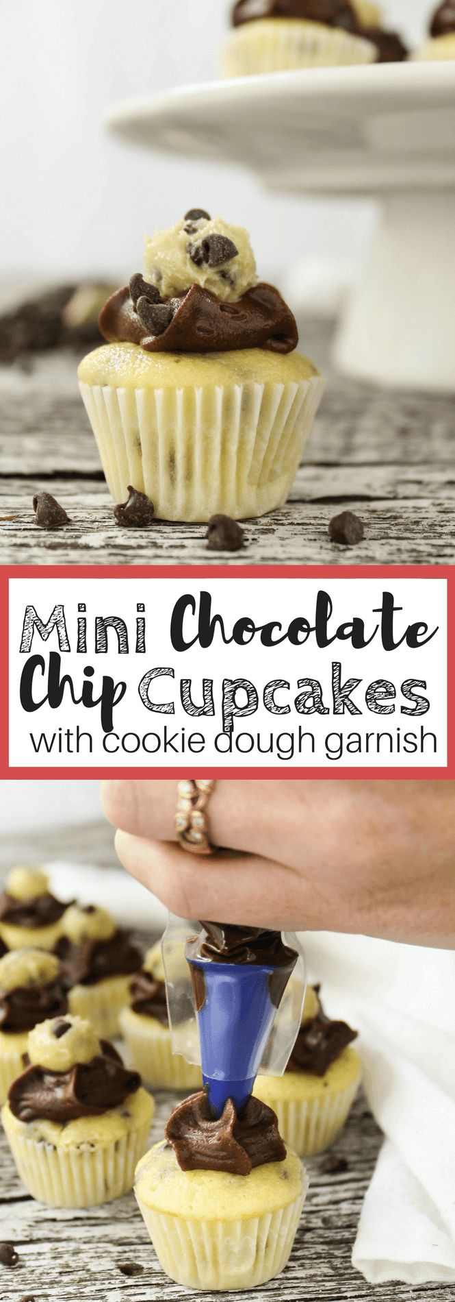 Mini Chocolate Chip Cupcakes with Edible Cookie Dough #ad #DoughboySurprise #FunWithFrosting @pillsburybaking #Fallbaking