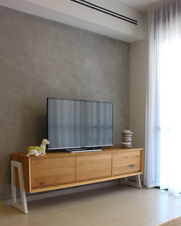 Modern Oak Tv Cabinet In A Retro Living Room