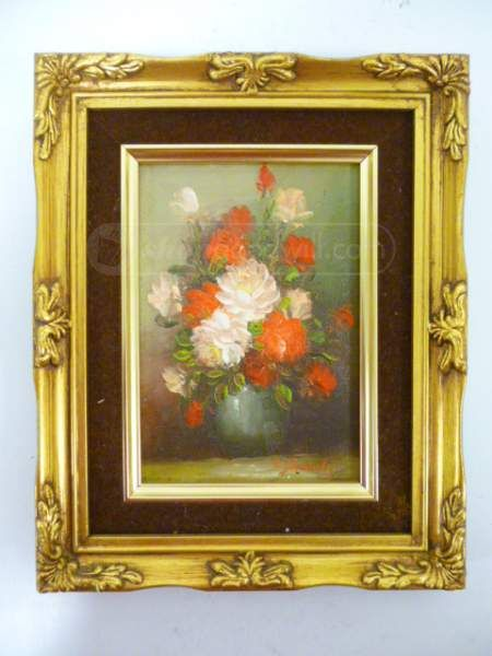 shopgoodwill.com: Framed Artist Signed Floral Oil Canvas Painting