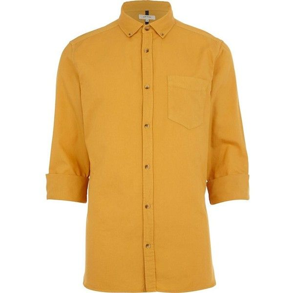 River Island Mustard yellow Oxford shirt (£10) ❤ liked on Polyvore featuring men's fashion, men's clothing, men's shirts, men's casual shirts, shirts, sale, mens extra long sleeve shirts, mens button down collar shirts, mens long sleeve shirts and mens long sleeve oxford shirts