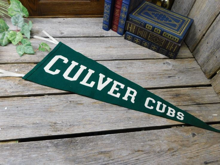 Vintage Mid Century Heavy Wool Pennant -  Applique Letters - Mascot - Culver Cubs by allthatsvintage56 on Etsy