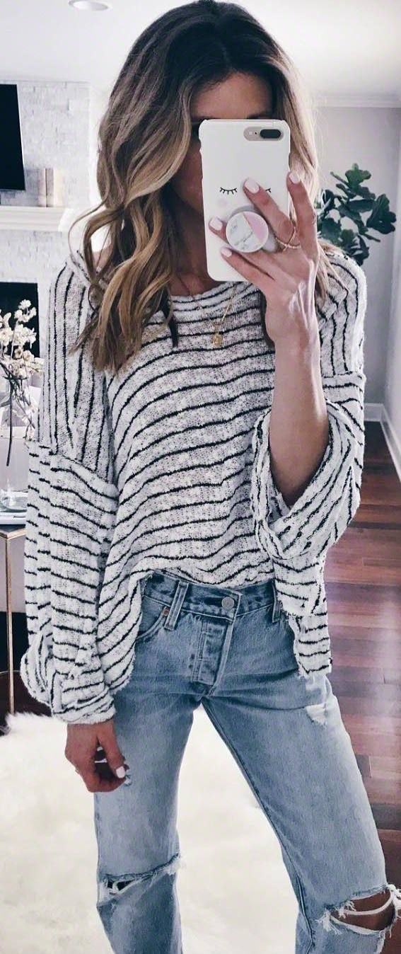 #winter #outfits white striped sweater, ripped jeans