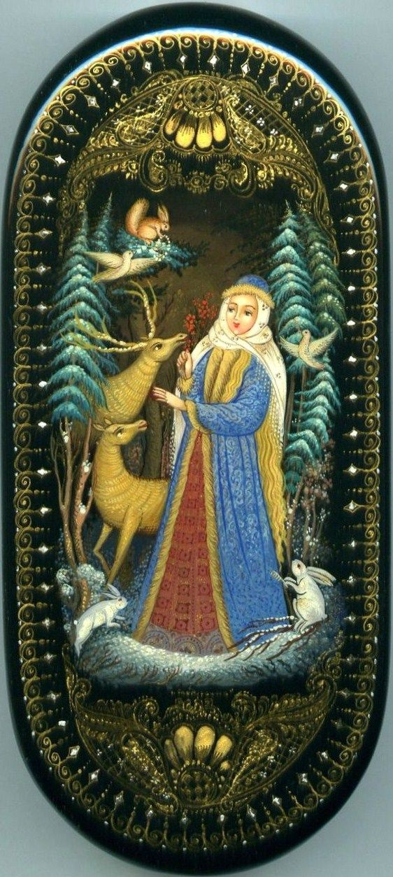 Russian lacquer miniature from the village of Palekh. Snegurochka (Snow Maiden) with her friends – forest animals.