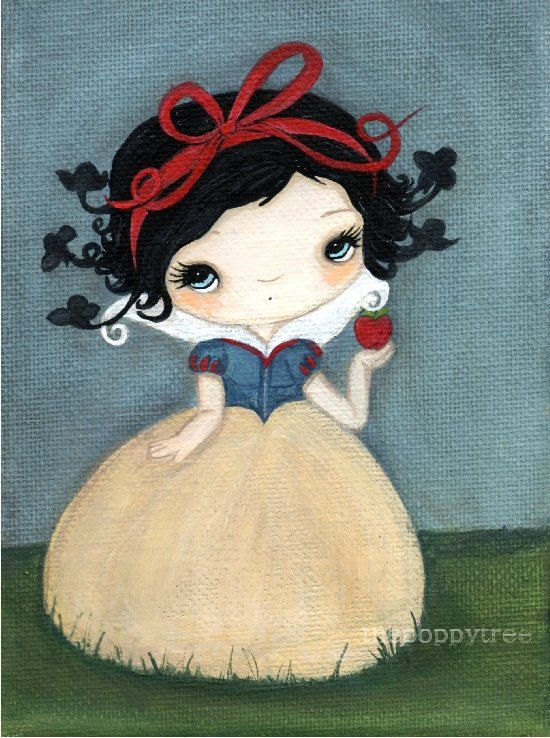 Snow White Art Bird Fairy Tale Print Apple---The Birds Will Take Me Print 5 x 7