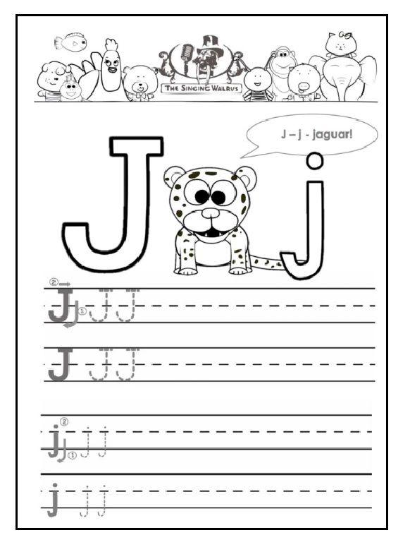 J Is For Jaguar Free Printable Worksheet Tracing Worksheets Preschool Kindergarten Worksheets Kindergarten Worksheets Printable