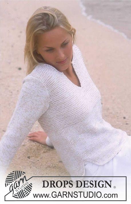Knit simple DROPS Pullover in Safran and Cotton Viscose ~ DROPS Design