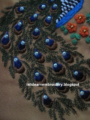 Let's learn embroidery: Barbara's peacock - final part