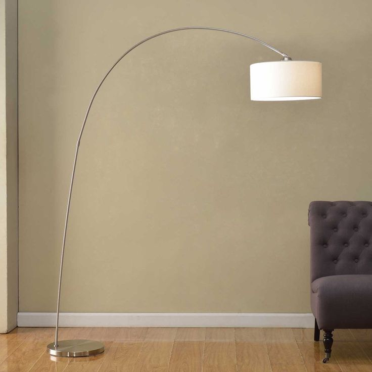 Brushed Steel Arc Floor Lamp With Linen Shade The Brick