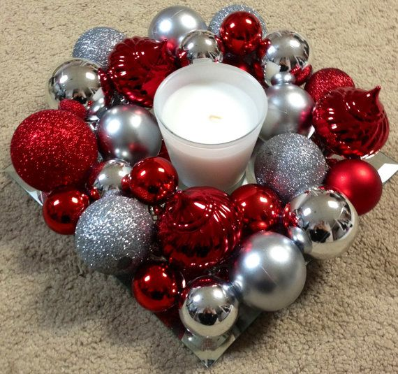 Red & Silver Christmas Ornament Wreath or Table Decoration for around Candles