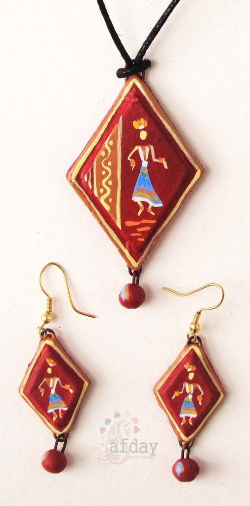 http://www.afday.com/collections/jewellery-1/products/lonely-lady-terracotta-set Rs 485