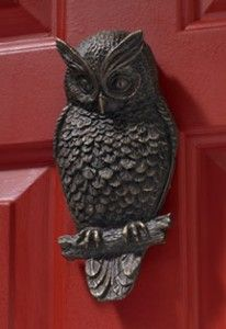 owl door knocker. I'd love this wonderful owl on my door.....love the red door too....
