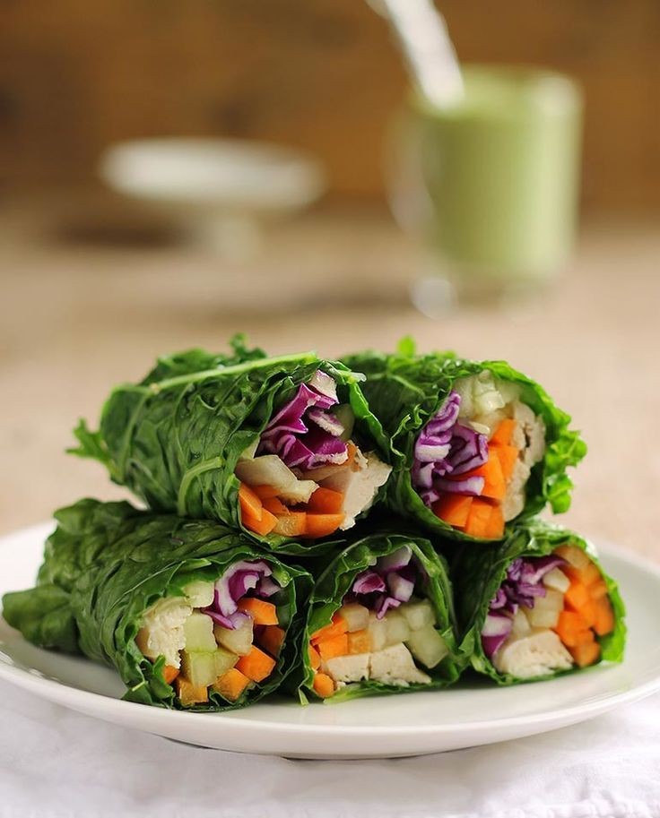8. Collard Green Wraps With Chicken #lunch #wraps #recipes http://greatist.com/eat/healthy-lunch-ideas-quick-and-easy-wraps