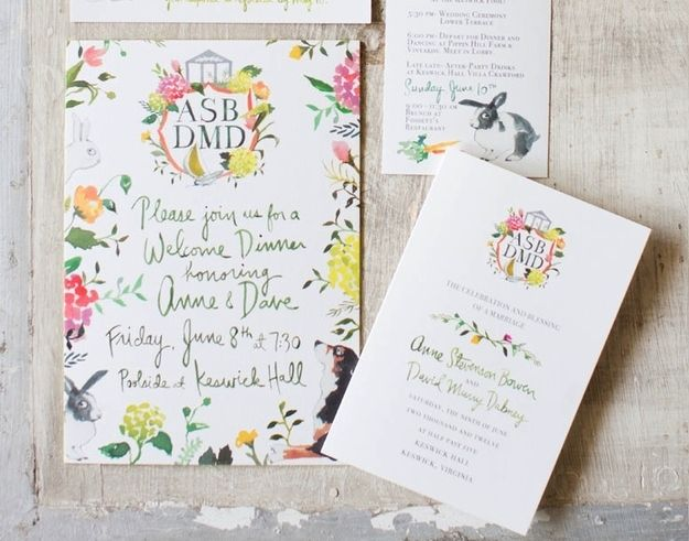 This invite shows us how to correctly combine handwritten and digital fonts. | The 25 Most Beautifully Illustrated Wedding Invites