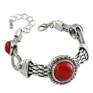 Burnished Silvertone #Coral -colored #Fashion #Bracelet