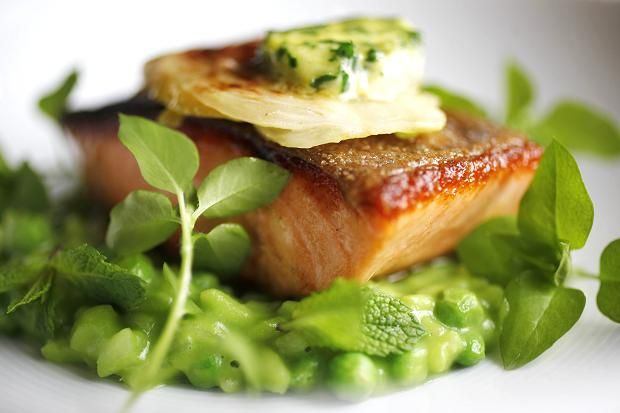 Baked salmon, pea risotto and lemon butter recipe from Chef Marcus Wareing.