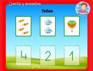 Tellen met kleuters op digibord of computer, kleuteridee, Kindergarten math game for IBW or computer