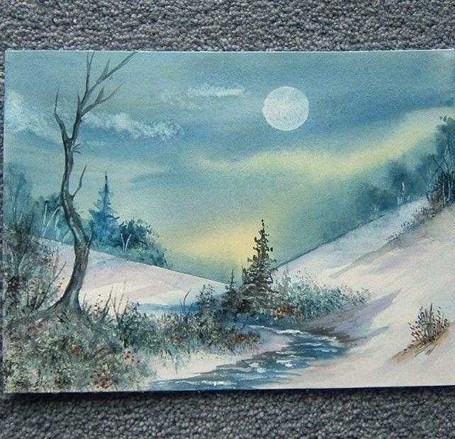 Moonlight snow watercolour original art painting (ref 872) £15.00