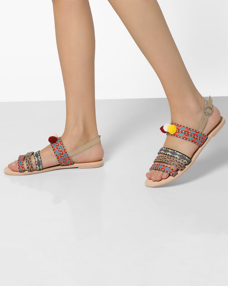 THEEA Multicolor Synthetic Slingback Flats Sandals #Multicolor  #Synthetic  #Flats  #pompom