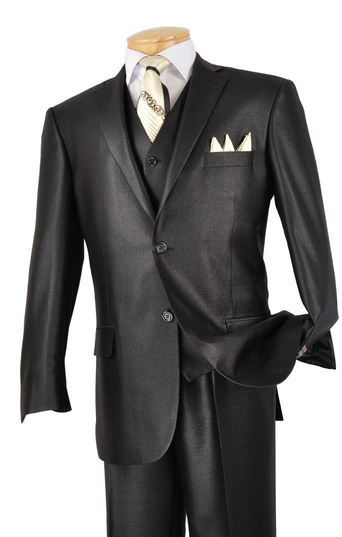 Vinci Mens Black 3 Piece Shiny Sharkskin Suit V2rr 1