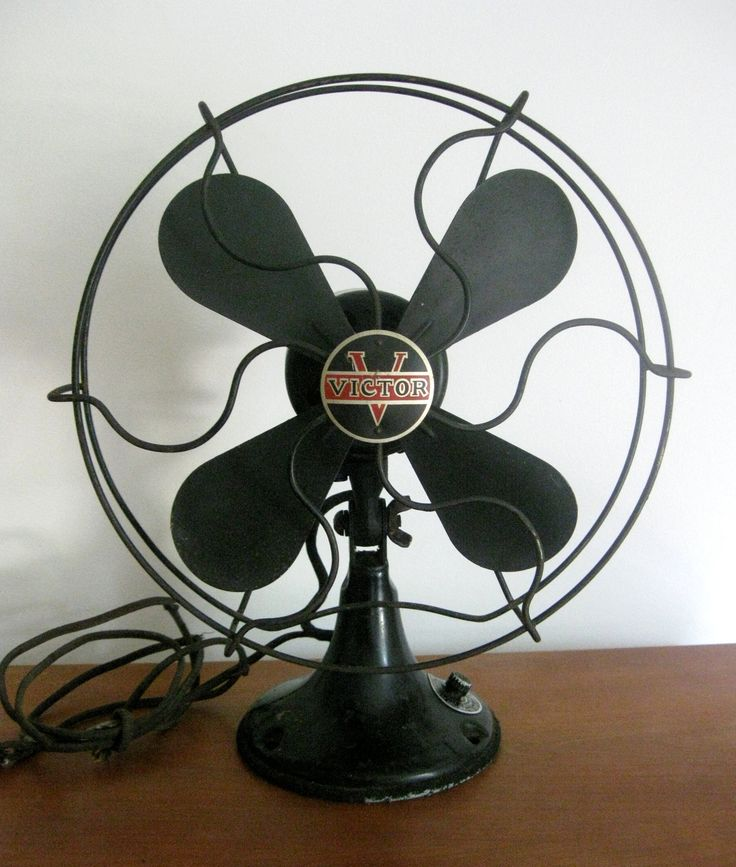 Antique Fan in Working Condition, Victor Desk Fan, Black with Great Paint  and Badge/Logo/Advertising - 42 Best Vintage - Fans Images On Pinterest Vintage Fans, Electric