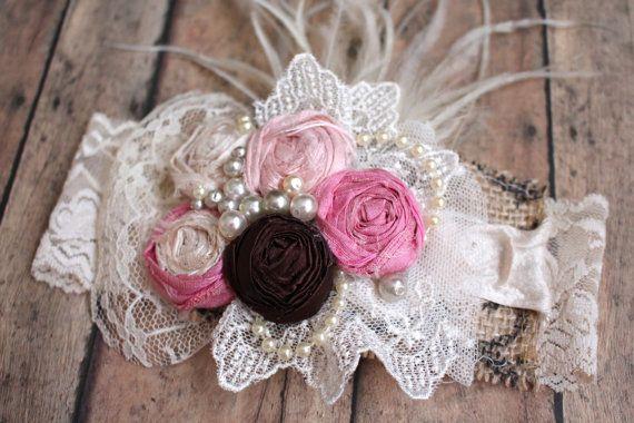 Shabby Headband, Rosettes Lace and Burlap Headband, Rustic Hair Accessory, Bohemian Wedding, Flower Girl, Baby Girl Hair Accessory,