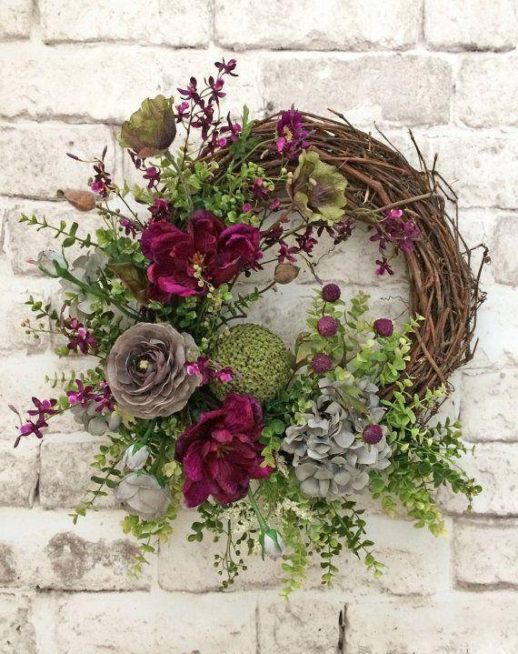 Summer Door Wreath, Front Door Wreath, Summer Wreath for Door, Outdoor Wreath, Spring Wreath, Silk Floral Wreath,Grapevine Wreath,Decoration