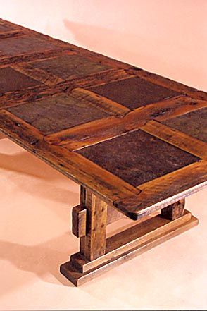 Rustic Dining Table In Barnwood And Stone Tile   Custom By Stephen Burlison