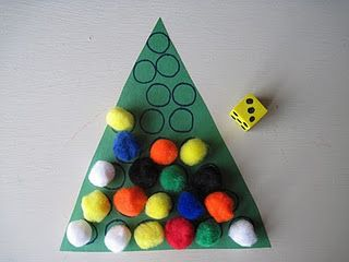 another tree game DIY.  Roll the dice and put that many puff balls on the tree.  I think this would be improved if the dice was with numbers instead of dots so that my little ones can learn to recognize the numbers and associate the number with the amount.