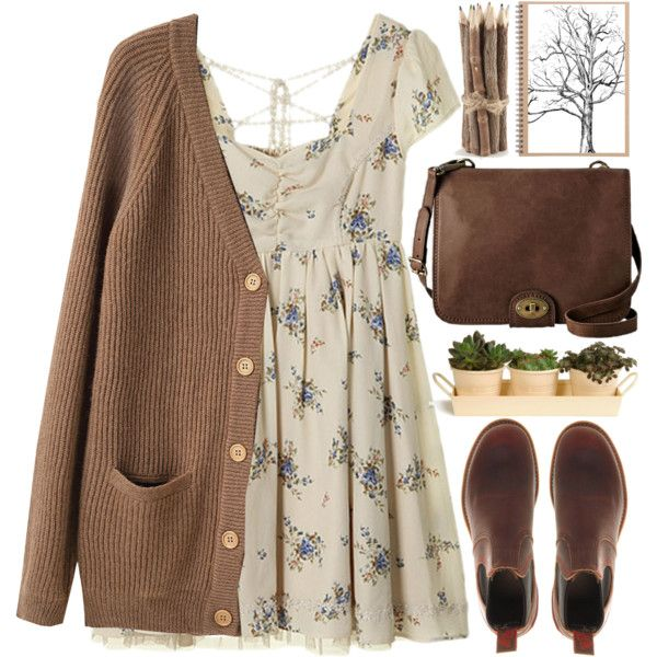 hints of fall by evangeline-lily on Polyvore featuring Le Mont St. Michel, FOSSIL, World Market, Muji and Garden Trading