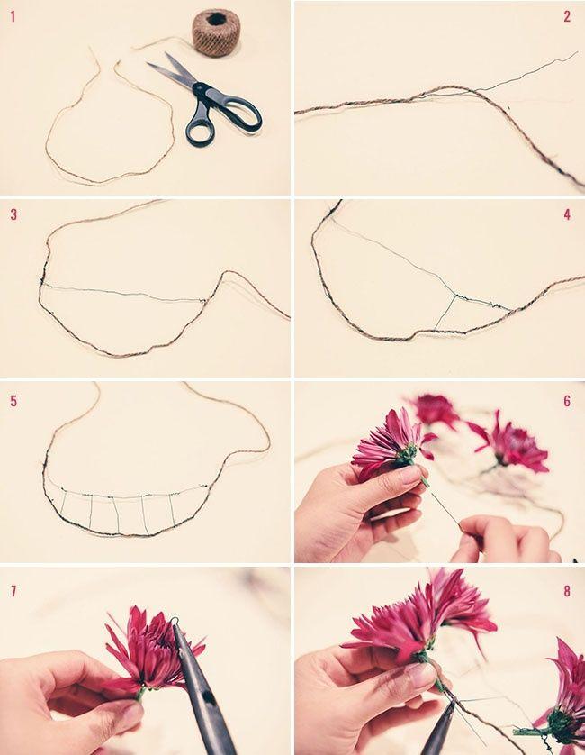 Как сделать колье из живых цветов (Diy)