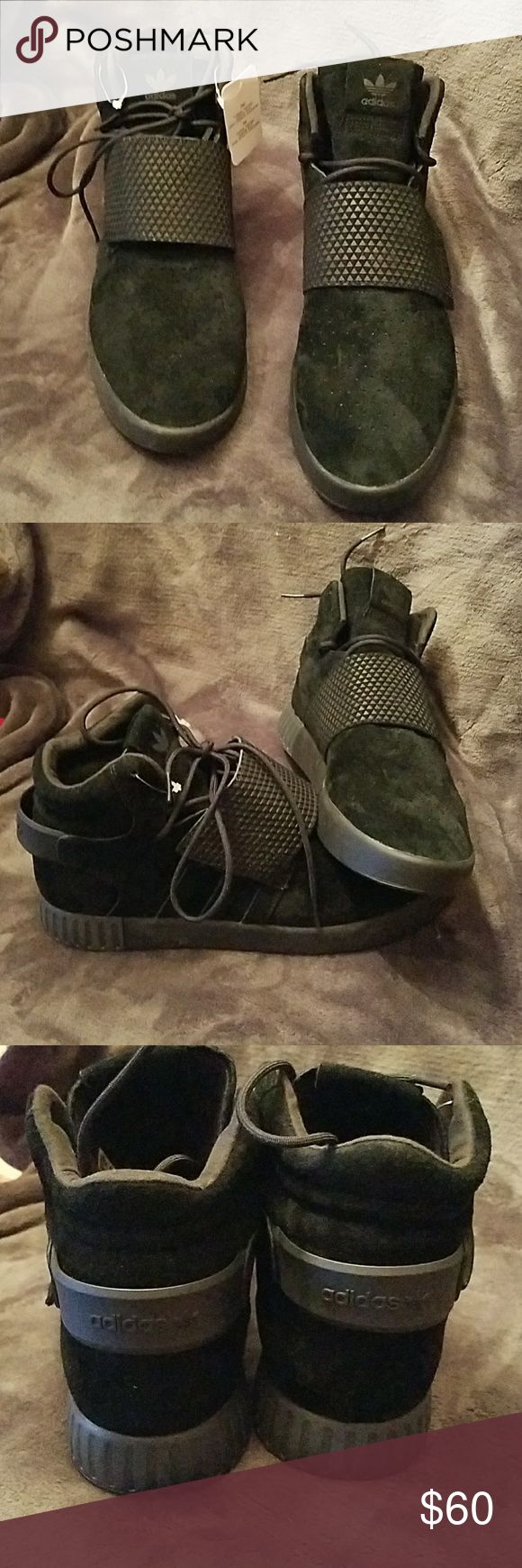 New Adidas Tubular Invader Strap Sneakers Never Worn.. Great pair of Black Adidas Tubular Invader Strapped Kanye W. Mens Sneakers.. Size 10.5 adidas Shoes Sneakers #sneakersadidas