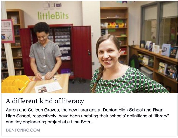 Aaron and I were both super honored to be interviewed for our local paper on our new library transformations in our local high schools.  I think Rhiannon did a great job writing about our new libra...
