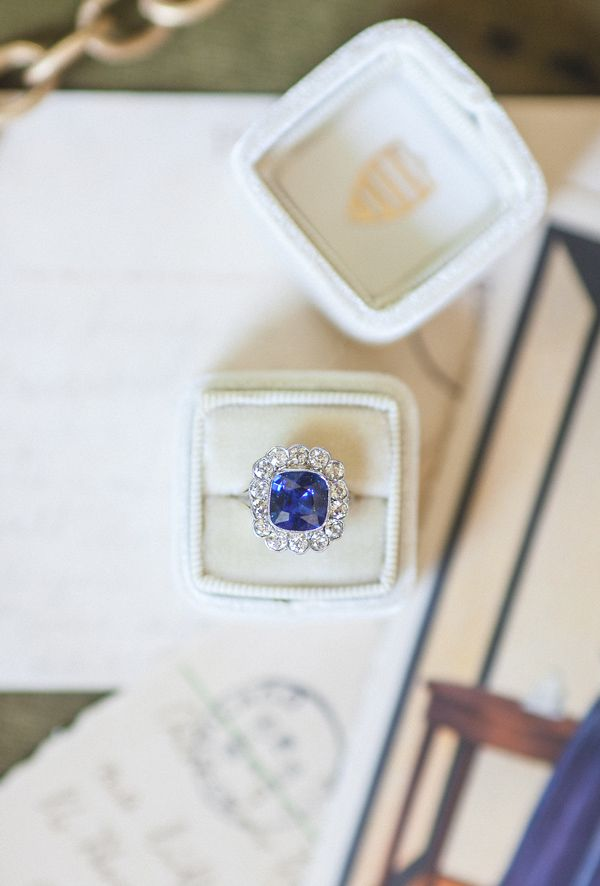 Vintage sapphire & diamond engagement ring from Trumpet & Horn // photo by a still breath, styled by bushel & peck