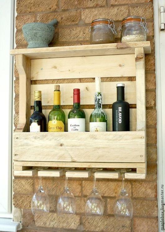 Мебель ручной работы. Ярмарка Мастеров - ручная работа. Купить Полка для вина без  покраски. Handmade. Белый, для вина