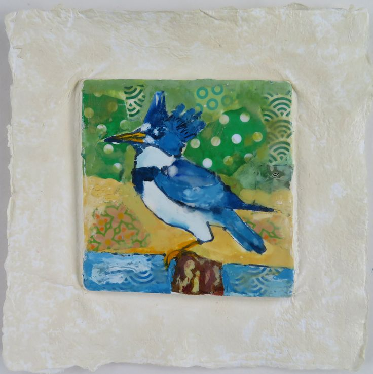 Mighty Kingfisher, encaustic, ink and collage on hand cast paper by Gerri Ann Siwek.