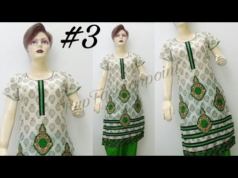 Designer Kurti #3 Embroidery and Border Work Full Making in hindi/urdu - YouTube