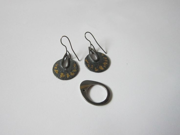 Earrings and ring, Art Clay Silver oxidised and Keum Boo, by Cristina Stoica
