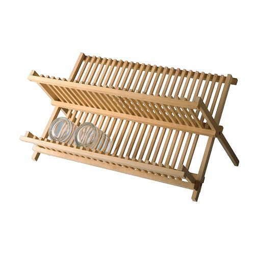 IKEA MAGASIN Dish Drainer。ファミリーキャンプで食器類が多い時には、折りたたみの水切りが威力を発揮します。サンドペーパーで磨いてオイル処理して使用中。