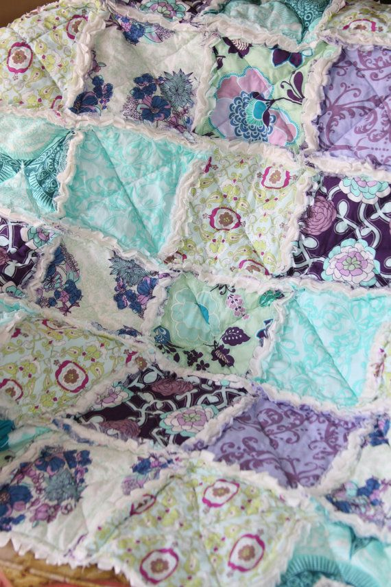 Baby Girl Rag Quilt Purple Teal Aqua Nursery Ready to by justluved