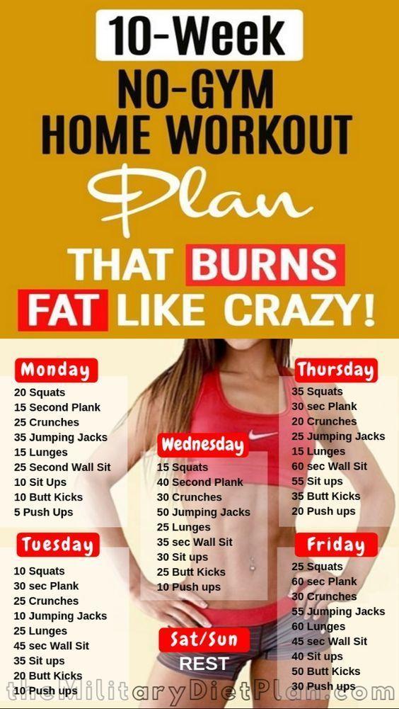 10-wöchiger Trainingsplan für zu Hause ohne Fitnessstudio, der Fett wie verrückt verbrennt!