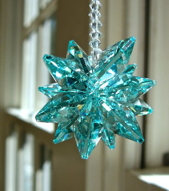 """Crystal Suncatcher - Swarovski Crystal Suncatcher in Turquoise for Home or Car, """"STELLA TEAL SHORT,"""" 5.5"""" Long, Perfect for Rear View Mirror on Etsy, $23.00"""