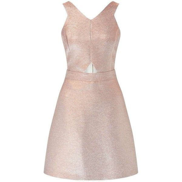 Miss Selfridge Rose Gold Glitter Dress ($95) ❤ liked on Polyvore featuring dresses, rose gold, pink cutout dress, metallic dress, pink cocktail dress, miss selfridge and cut out cocktail dresses