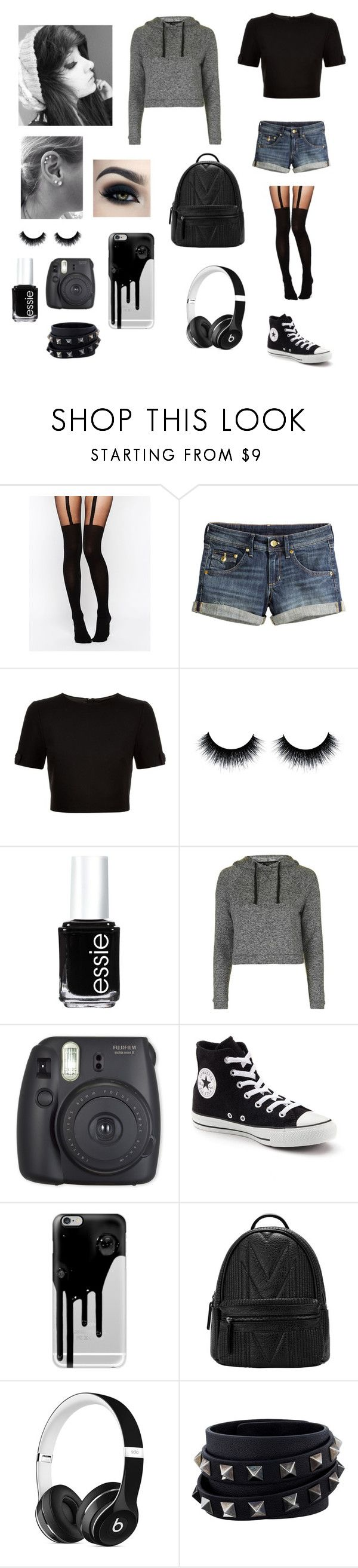 """""""Emo"""" by burusa2 ❤ liked on Polyvore featuring ASOS, H&M, Ted Baker, Essie, Topshop, Fuji, Converse, Casetify, Beats by Dr. Dre and Valentino"""